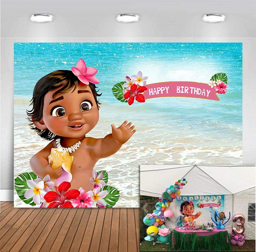 MMY 7x5ft Baby Moana Backdrop 1st Birthday Party Banner Supplies Summer Sea Blue Water Ocean Background Princess Baby Shower Moana Wallpaper Photobooth Props