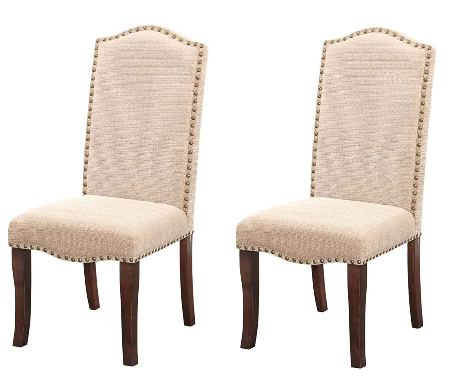 Set of 2 Kings Brand Furniture Cream White Nailhead Trim Upholstered Dinette Dining Room Chairs