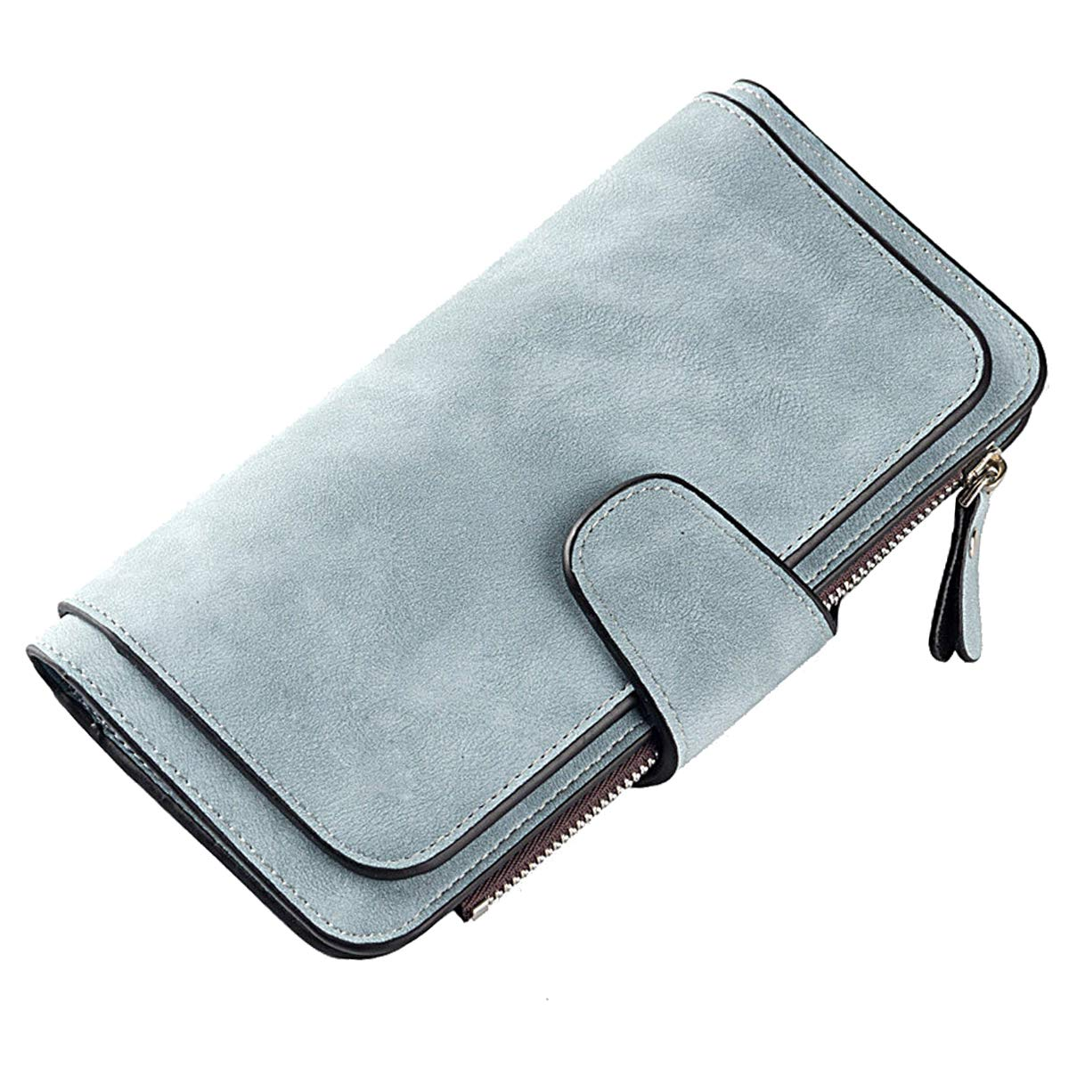Laynos Wallet for Women Leather Clutch Purse Long Ladies Credit Card Holder Organizer Travel Purse Blue by Laynos (Image #2)