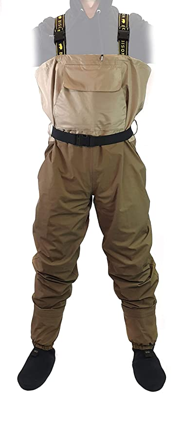 BISON BREATHABLE STOCKING FOOT CHEST WADERS M,L XL,XXL