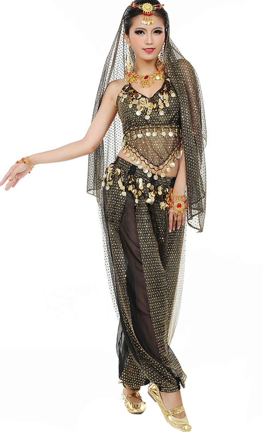 Astage Women`s Belly Dance Carnival Costume Set All Accesorries Black