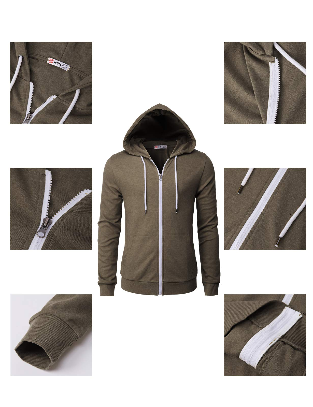 H2H Mens Casual Zip up Hoodie Basic Long Sleeve Zip up HEATHERBROWN US 2XL/Asia 3XL (CMOHOL048) by H2H (Image #4)