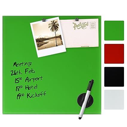 Artina - Pizarra magnética de Cristal imantado - 20x60 cm - Tablero de Notas - con rotulador e imanes - Verde