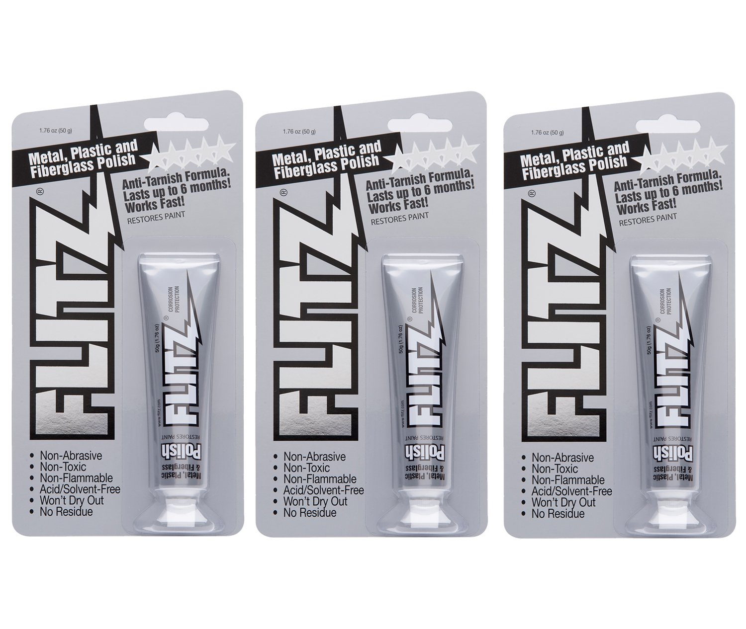 Flitz BP 03511-3A-3PK Metal, Plastic and Fiberglass Polish Paste, 1.76 oz. Blister Tube, 3-Pack