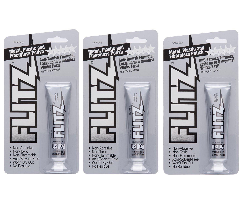 Flitz BP 03511-3A-3PK Metal, Plastic and Fiberglass Polish Paste, 1.76 oz. Blister Tube, 3-Pack