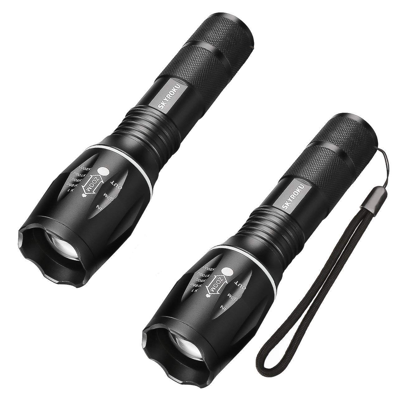 Flashlights, SKYROKU 2 Pack Portable Ultra Brightest Handheld LED Flashlight 800 Lumens Waterproof Led MINI Flash light for Hiking, Camping and Riding(New Version)
