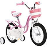 "Royalbaby pink swan girl's kids children bike in size 12"" 14"" 16"" 18"" with stabilisers and basket."