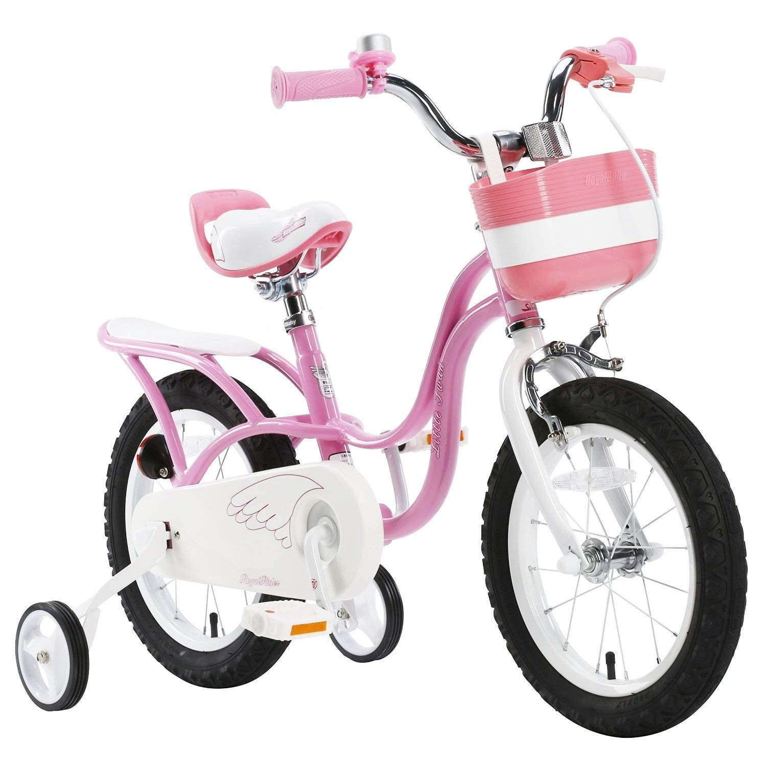 """Royalbaby pink swan girl's kids children bike in size 12"""" 14"""" 16"""" 18"""" with stabilisers and basket."""