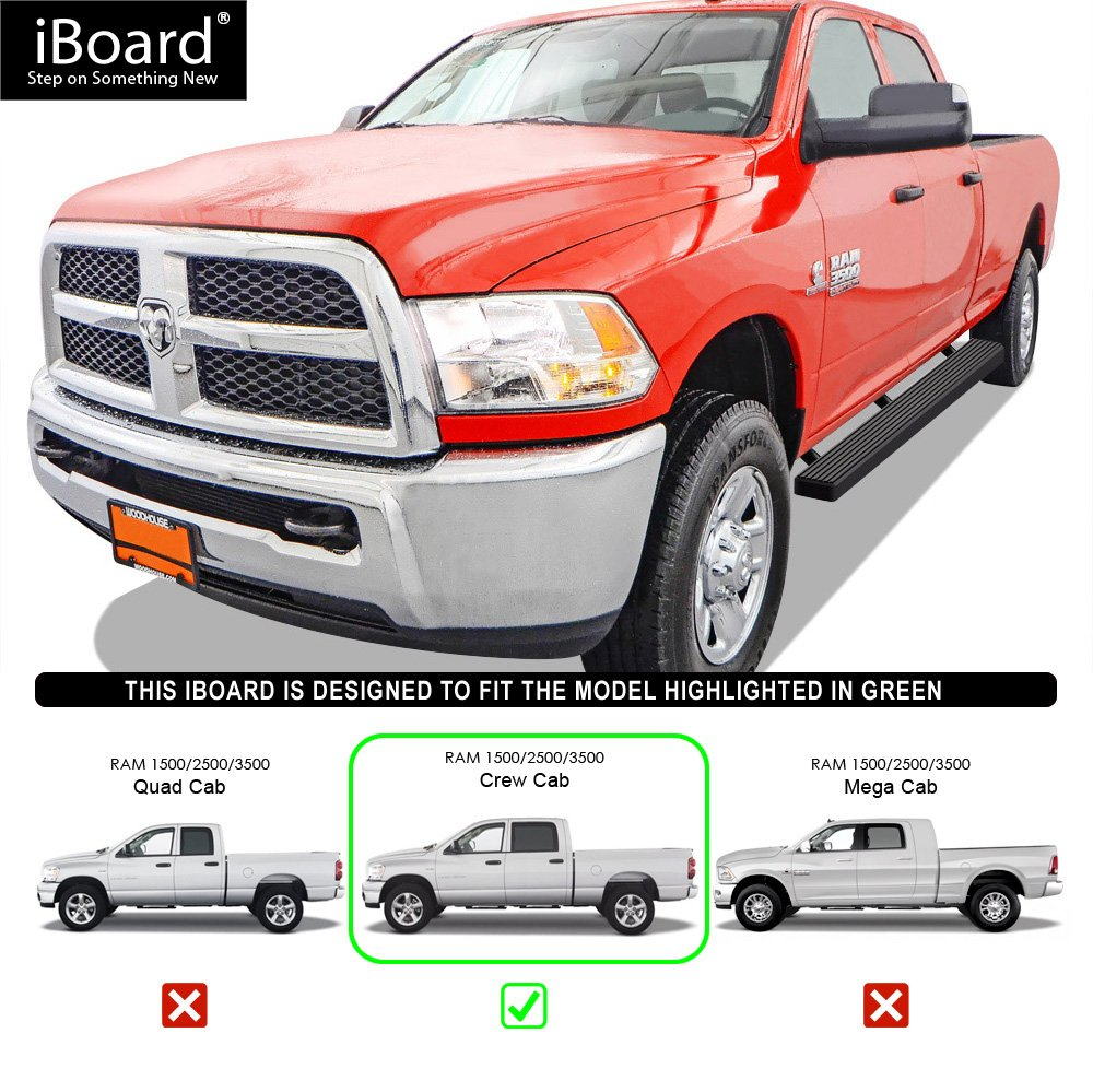 Silver 4 inches Nerf Bars Side Steps Step Bars Compatible with 2009-2018 Ram 1500 Crew Cab Pickup 4Dr /& 2010-2019 Ram 2500 3500 APS iBoard Running Boards
