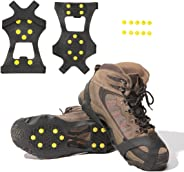 Carryown Ice Cleats, Ice Grips Traction Cleats Grippers Non-Slip Over Shoe/Boot Rubber Spikes Crampons Anti Easy Slip 10 Steel Studs Crampons Slip-on Stretch Footwear + 10 Extra Replacement Studs