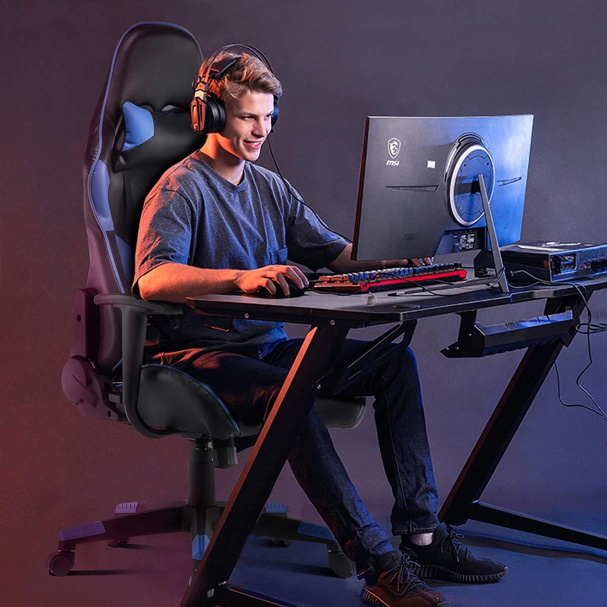 YAMASORO spelstol ergonomisk datorstol med högt ryggstöd, racerstol med justerbar höjd och ländrygg stöd för tonåringar vuxna (blå) Röd