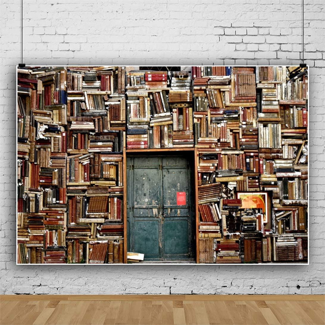 YEELE Old Bookshelf Wall Backdrop 10x8ft Vintage Library Photography Background Work Event YouTube Videos Kids Adults Artistic Portrait Photoshoot Props Wallpaper