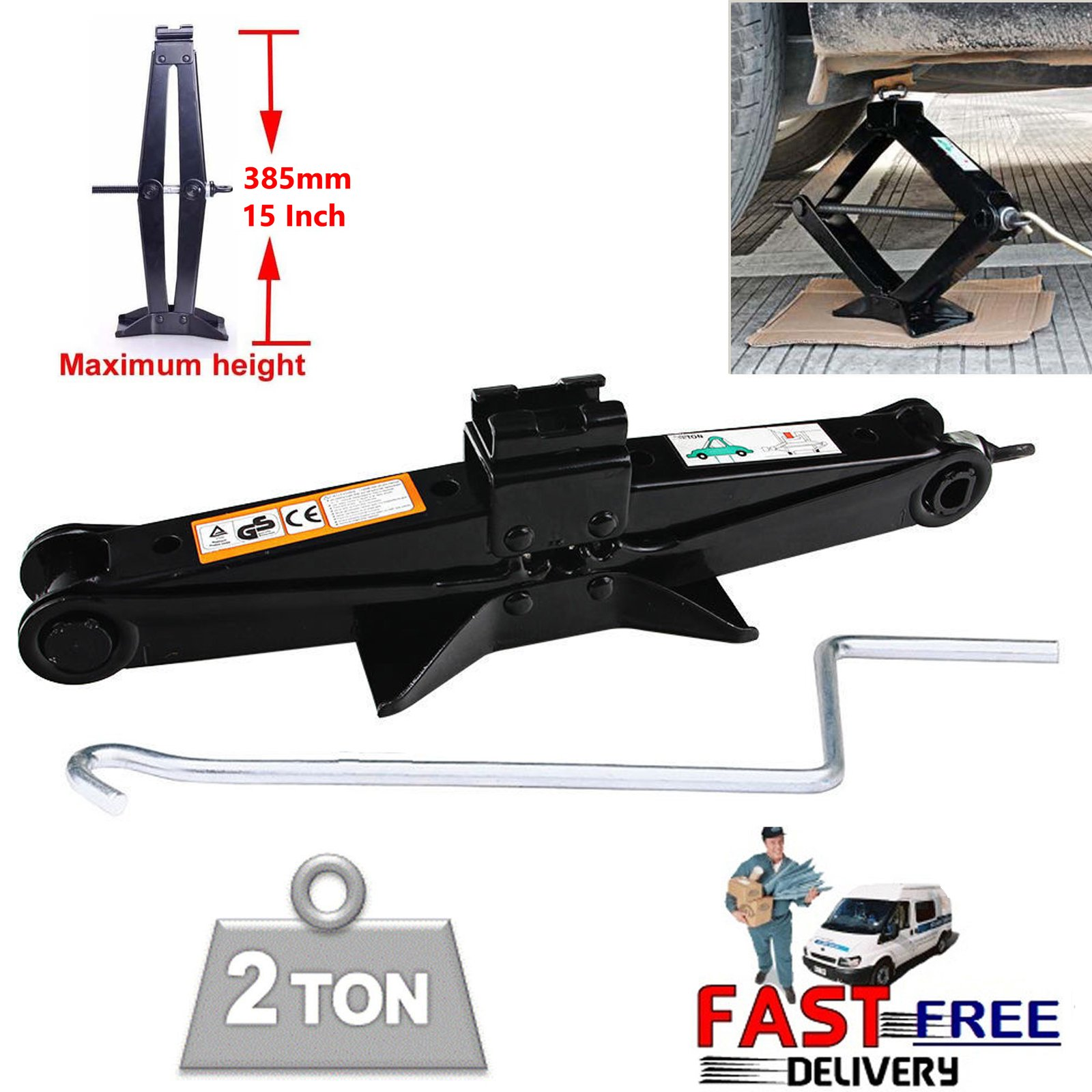 DICN 1PCS Black Scissor Jack Steel Wind Up Leveling with Crank Handle Manual 2 Ton 4.2-15Inch Capacity High Lift - Spare Tire Changing Tools for Car Van Truck (US Ship) by DICN (Image #1)