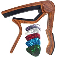 Guitar Capo for Acoustic and Electric Guitars - Rosewood with 5 Picks