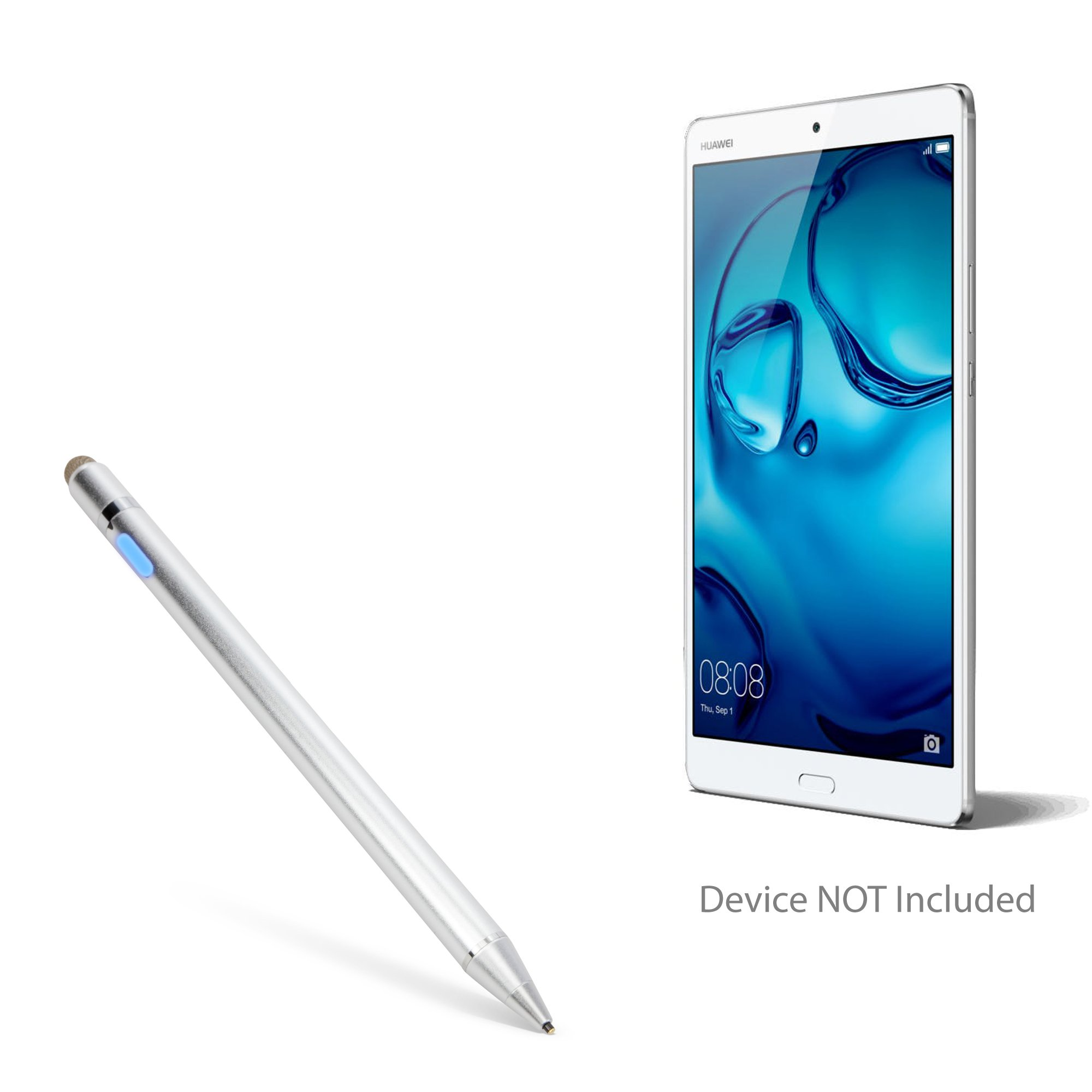 Huawei MediaPad M3 Stylus Pen, BoxWave [AccuPoint Active Stylus] Electronic Stylus with Ultra Fine Tip for Huawei MediaPad M3 - Metallic Silver by BoxWave (Image #1)