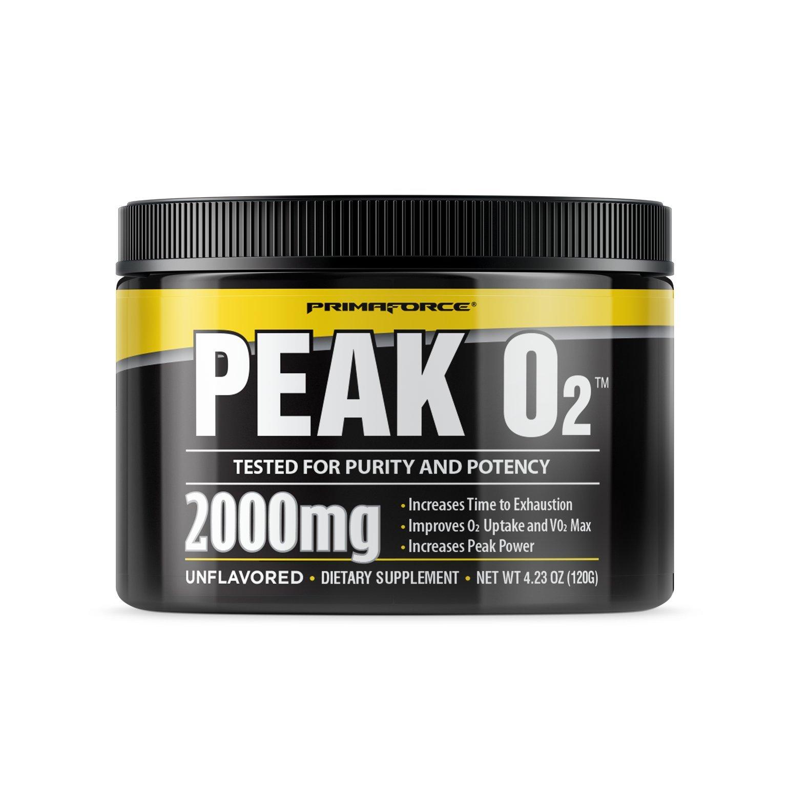 PrimaForce Peak O2 Powder Supplement, 120 Grams – Improves O2 Uptake & VO2 Max / Increases Time to Exhaustion / Enhances Peak Power
