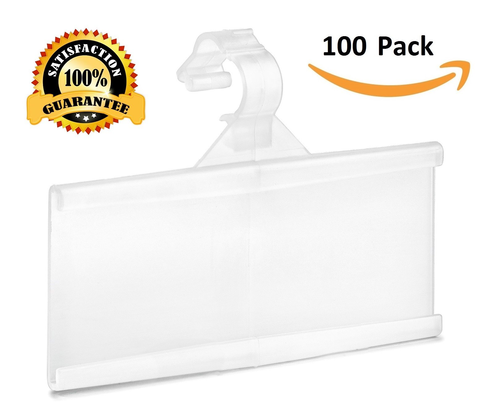 Pack of 100 – Plastic Wire Shelf Label Holder, Sign and Ticket Holder, Easy Clip Design with Tight Snap Lock Closure. Height, 1-1/4'' X Width, 3''