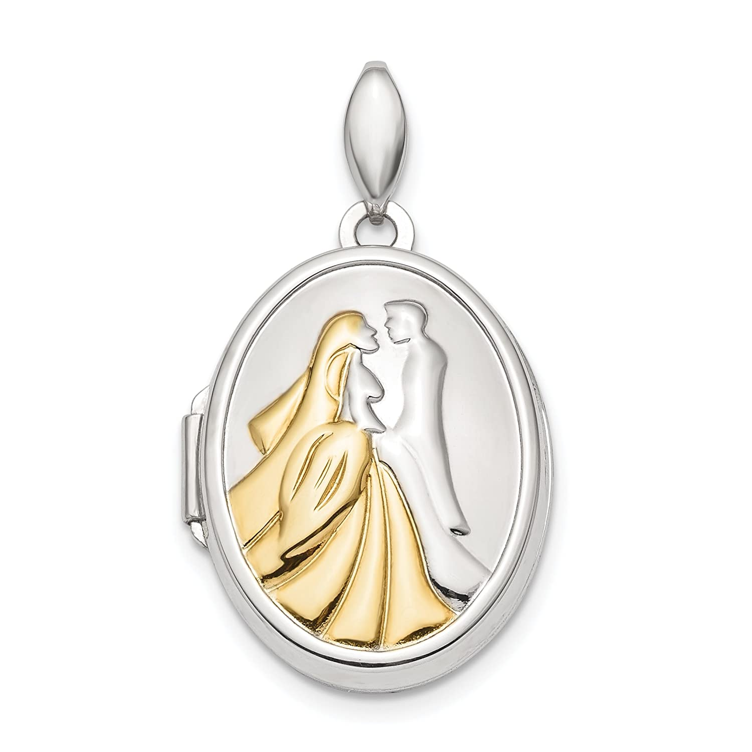 925 Sterling Silver Gold-tone Bride Groom Oval Locket Pendant