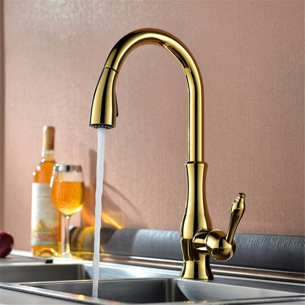 Lalaky Taps Faucet Kitchen Mixer Sink Waterfall Bathroom Mixer Basin Mixer Tap for Kitchen Bathroom and Washroom Pulling Hot and Cold All-Copper redating gold