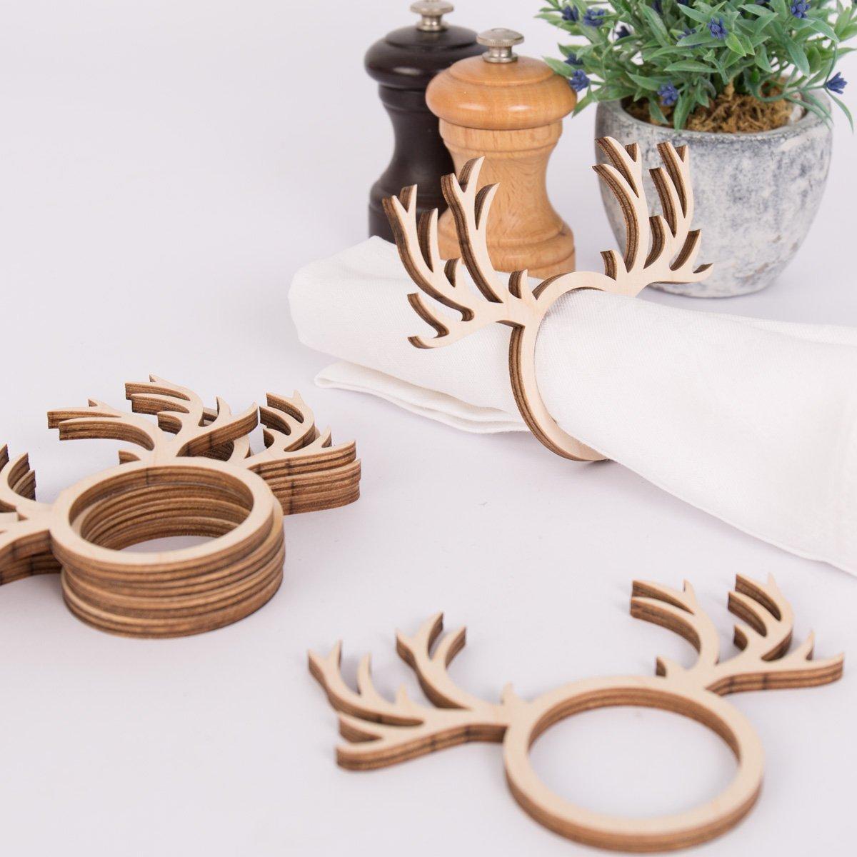 Dekorative Tischdeko aus Holz Kleinlaut Serviettenring 6er Set Motiv: Hirsch