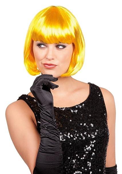 Corto peluca de pelo con CABARET Bob pelo de corte Charleston colour amarillo para carnavales,