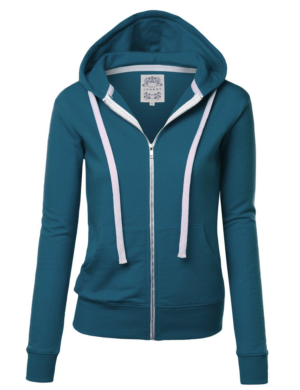 Made By Johnny WSK954 Womens Active Fleece Zip up Hoodie Sweater Jacket XXXL Teal