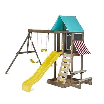 Kidkraft Newport Wooden Outdoor Playset With Swings Slide Vinyl Chalkboard
