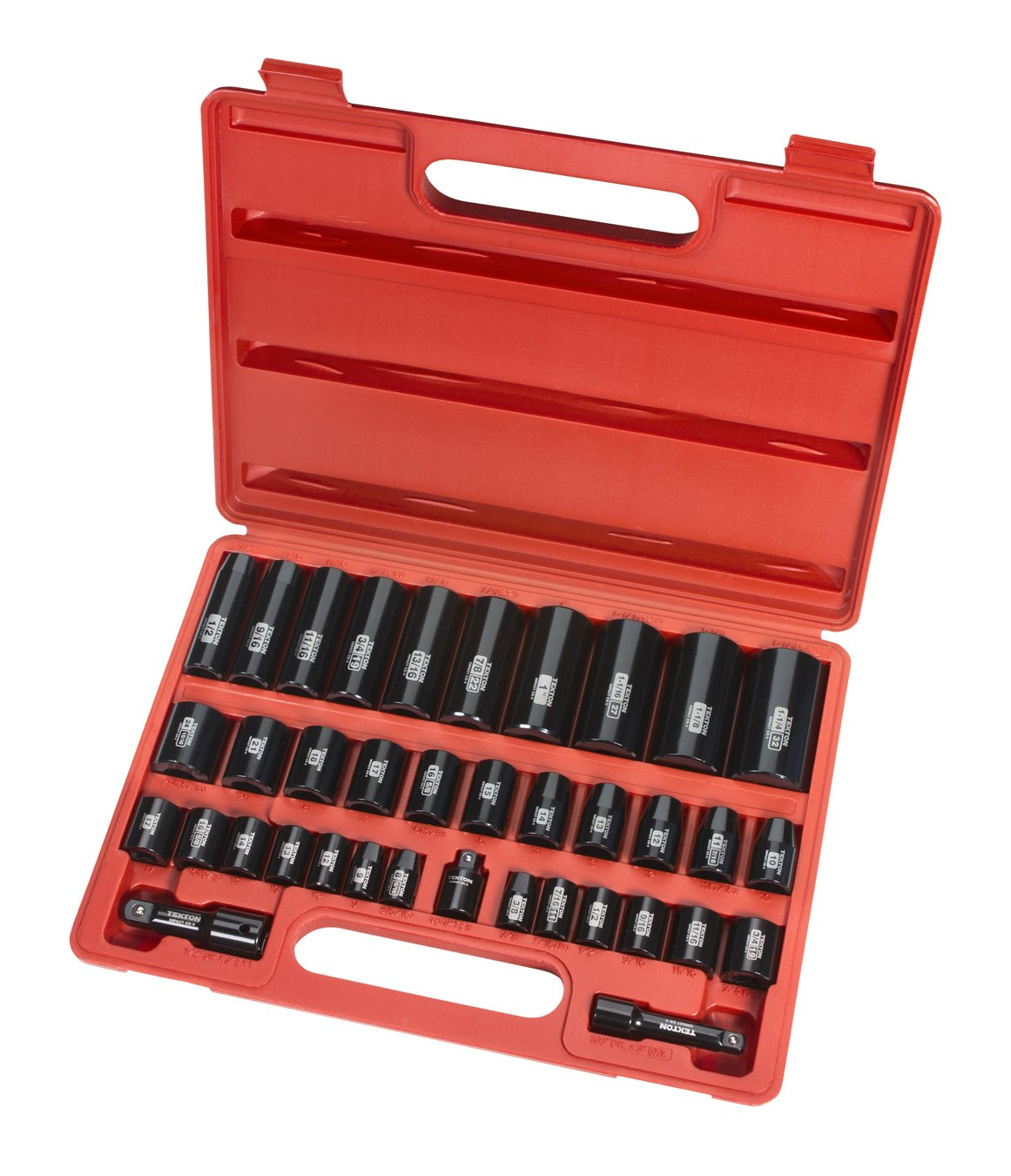 TEKTON 3/8-Inch and 1/2-Inch Drive Impact Socket Set, Inch/Metric, Cr-V, 6-Point, 3/8-Inch - 1-1/4-Inch, 8 mm - 32 mm, 38-Piece | 4888