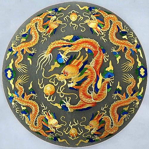 Silk Art Handmade Su Embroidery Framed 13×13 Inch , Five Golden Dragon Painting Oriental Feng Shui Wall Art Decor Artwork Cool Present 32216 SFW