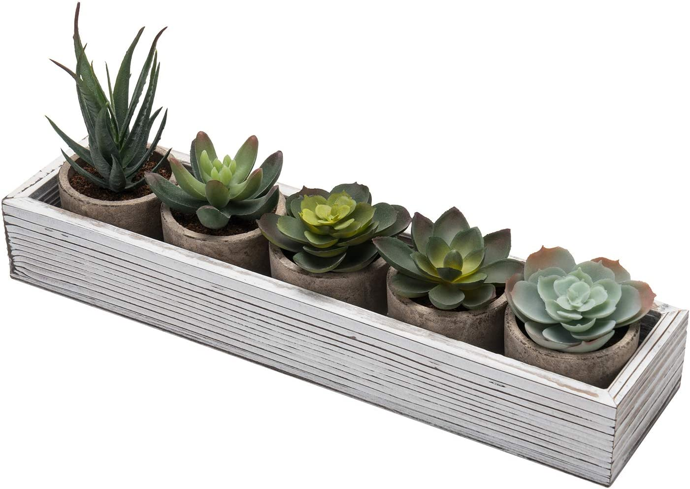 MoonLa Set of 5 Mini Fake Succulent Faux Cactus Cacti Potted Plants Assorted Decorative Artificial Succulent Plants with Gray Pots Wood Planter Arrangement