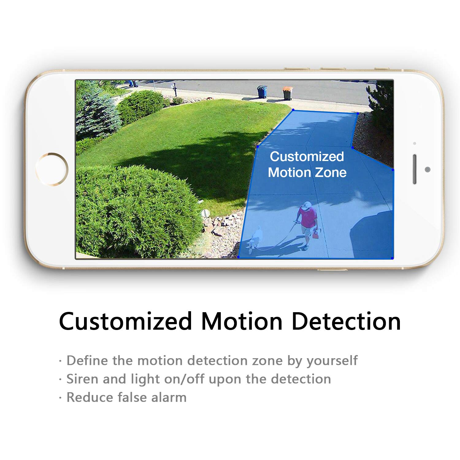 SENS8 Outdoor Camera with Light, 1080p HD, Wi-Fi Home Security Camera, No Subscription, Customized Motion Zone, Motion Detection, Night Vision, Two-Way Audio and Siren Alarm by SENS8 (Image #3)