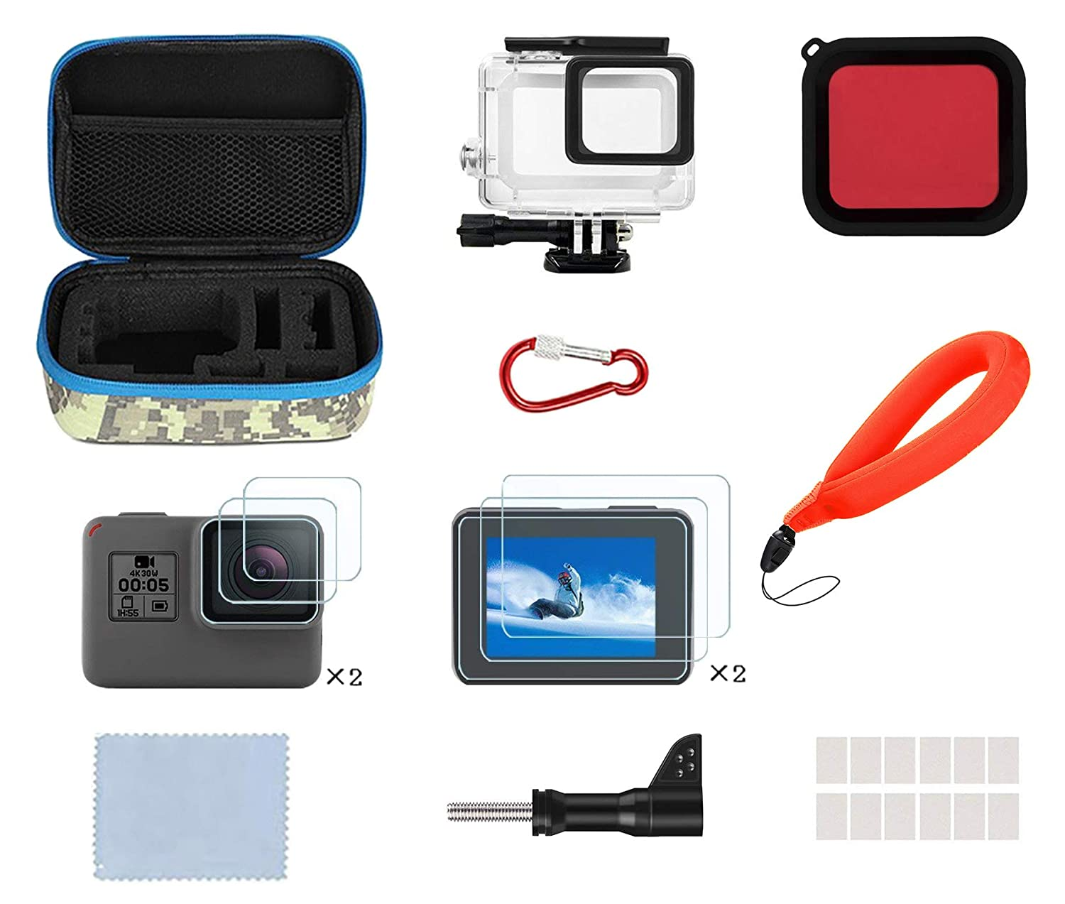 Lowpter Accessories Kit GoPro Hero 7/(2018)/6/5, Including Waterproof Housing Case + Waterproof Camera Float + Portable Small Carrying Case + Red Filter + Anti-Fog Inserts + Tempered Film dong wan shi zhi xuan che feng yong pin you xian gong si