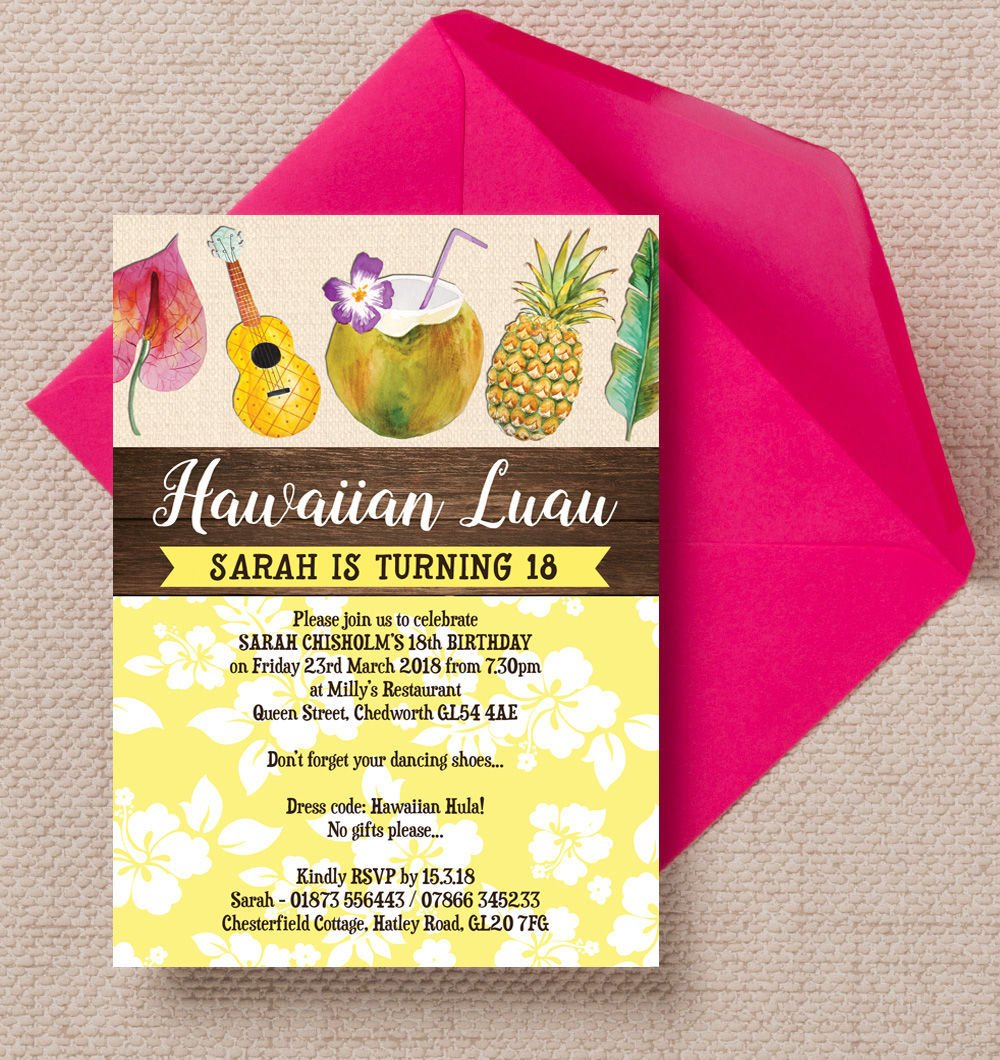 Personalised Hawaiian Luau Birthday Invitations With Envelopes Pack Of 10 Amazoncouk Kitchen Home