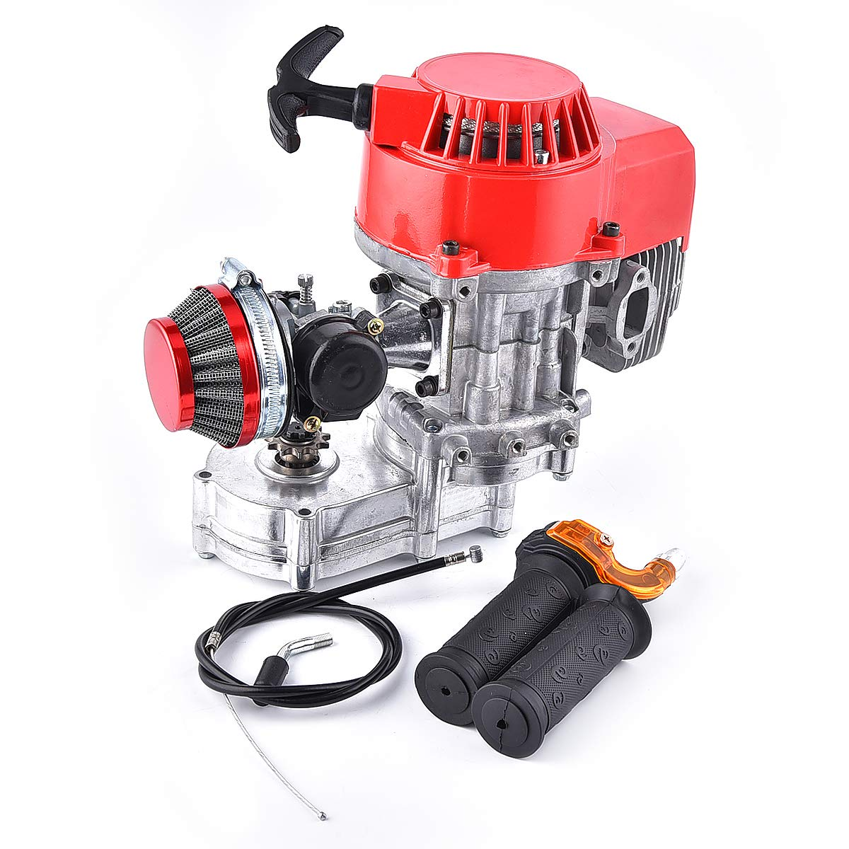 Throttle Cable Performance Motor 2-stroke Mini Dirt Bike ATV Engine with Gear Box 11T T8F Sprocket New Metal Recoil Engine 49cc 52cc Racing Air Filter Handle Bar