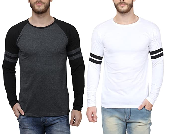 238a35809e29 SAYITLOUD Men's Printed Round Neck T-Shirts (Pack of 2 )(C33SOLIDBLACKMBLACK40WHITEBLACK-