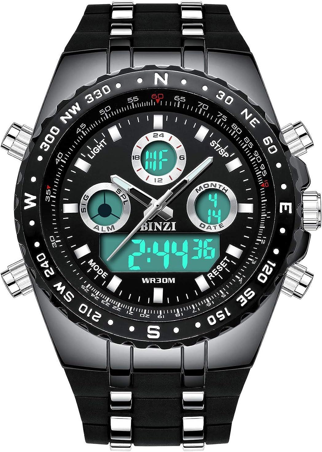 Relojes para hombre Binzi, sumergibles, reloj de pulsera militar, deportivo, digital, luz LED de lujo, pantalla dual con pulsera de silicona negra: Amazon.es: Relojes