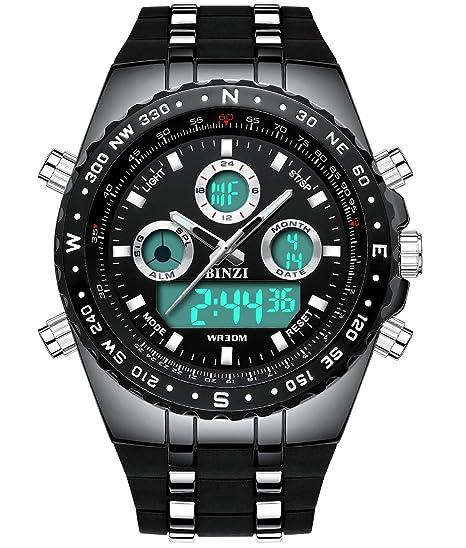 1402d900c06 Relojes Hombre Deportivo Binzi, Lujo Digital Watch analogico Caballero,  Reloj de Pulsera Militar,Resistente al Agua Calendario Fecha Cronografo