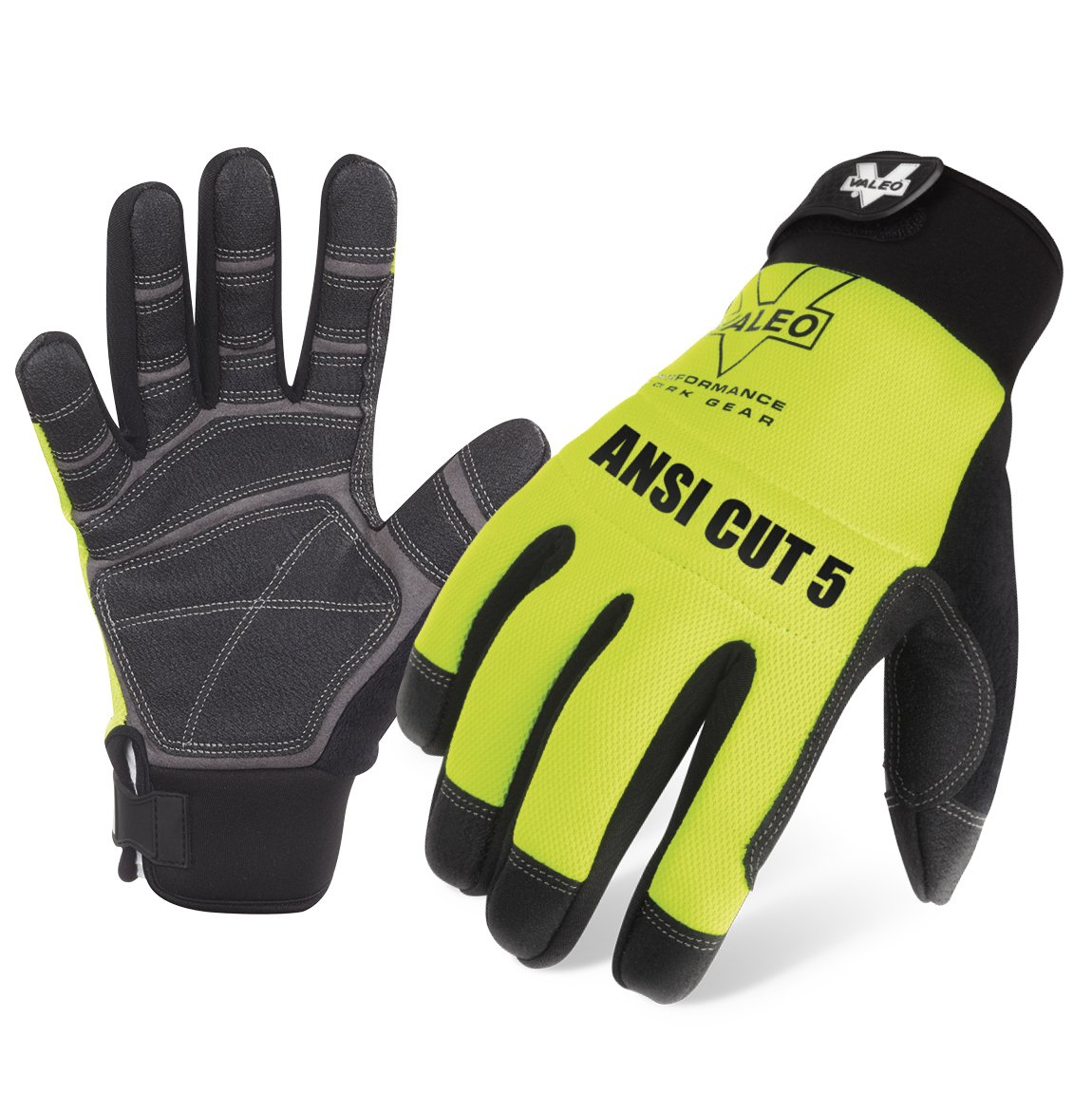 Valeo Industrial V100 Mechanics ANSI Cut 5 Cold Weather Gloves, VI9549, Pair, Yellow, Medium