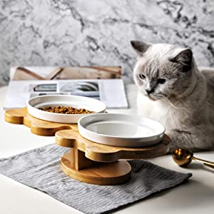 CHARMGIRLElevated Pet Bowls Raised Cat Food and Water Feeder with Natural Solid Bamboo Stand Double Ceramic Bowls Dishes Perfect for Small Cats and Dogs Modern Design