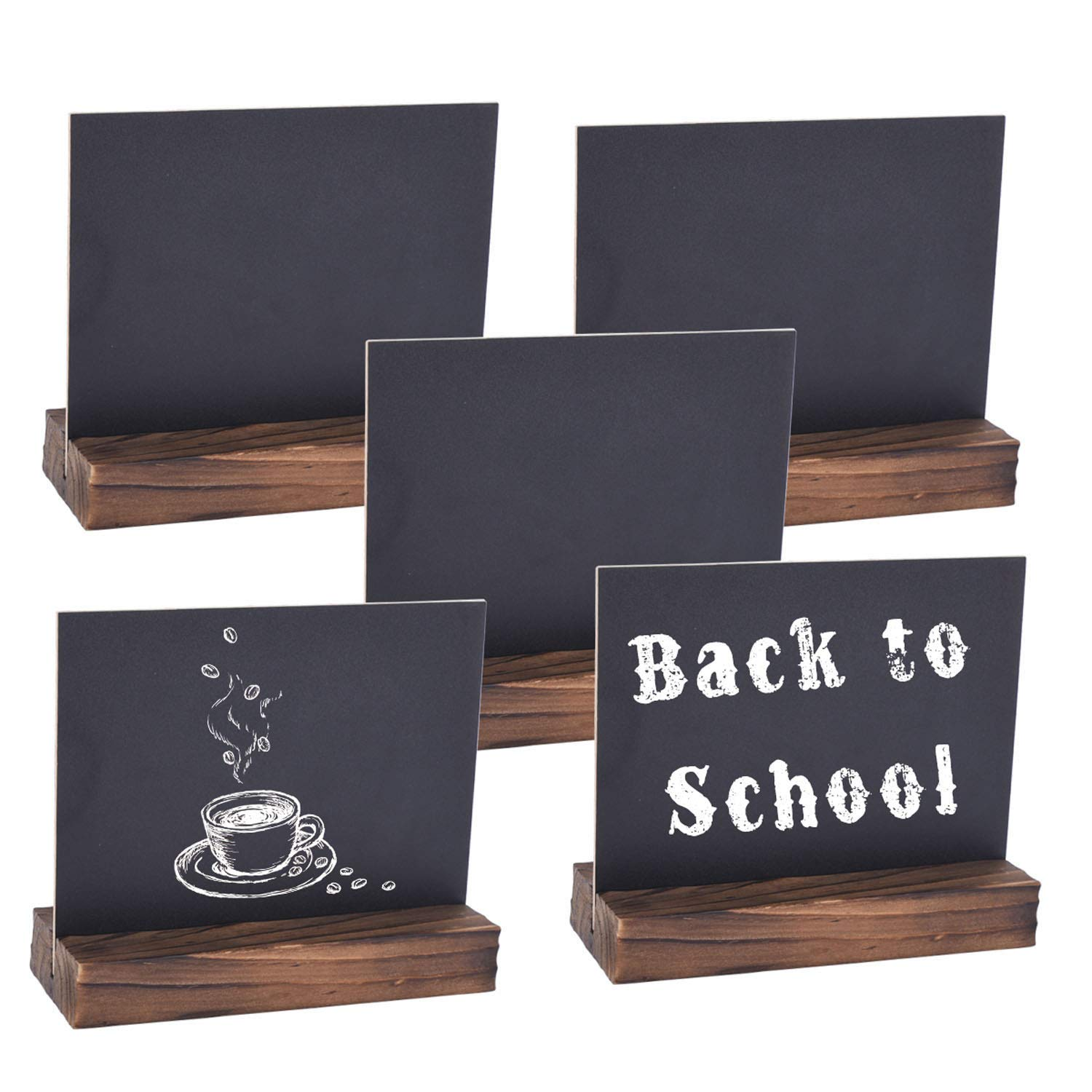 Autoark 5 x 6 inch Mini Tabletop Chalkboard Signs with Removable Wood Base Stands, Rustic& Vintage Style, 5 Pack, AOF-003