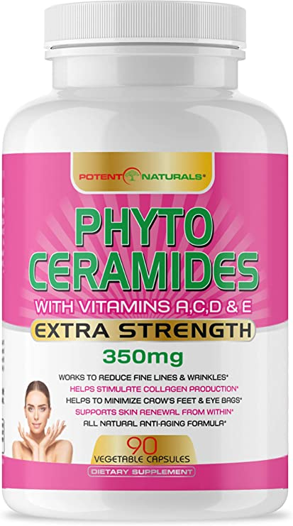 Amazon Com Phytoceramides 350mg 90 Servings With Vits A C D E By Potent Naturals Anti Aging Skin Vitamins Boosts Collagen Hydrates Skin Reduces Wrinkles Dark Circles Hair Skin Nails Supplement