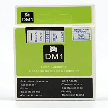 Amazon.com: Hartwii Blue on Clear Label Cassette Compatible for DYMOD1 45011 Label Tape 12mm 7m (1/2 x 23