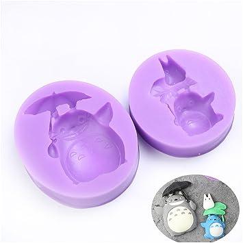 2 pcs Totoro familia DIY Cup Cake Decoración Chocolate Molde Silicona Fondant Moldes para jabón Candy