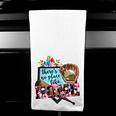 There's No Place Like Home, Floral Baseball Softball Microfiber Kitchen Tea Bar Towel Gift for Women