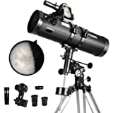 Telescope 130EQ Newtonian Reflector Telescopes for Adults, Great Astronomy Gift for Kids Adults, Comes with 1.5X Cellphone Ad