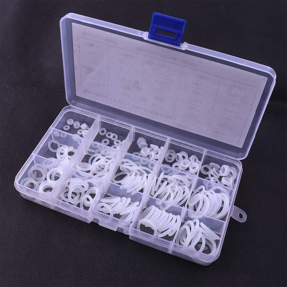 Fastener & Clip Mini 225PCS/pack O Ring VMQ White Washer Sealing Assortment Kit Oil-Proof Seals Set Rubber O-Rings Sets for Car Auto Car-Styling