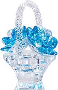 H&D HYALINE & DORA Crystal Flower Basket Figurine Collectable Ornaments Home Decor Tabletop Centerpiece Gift for Lady,Blue Color