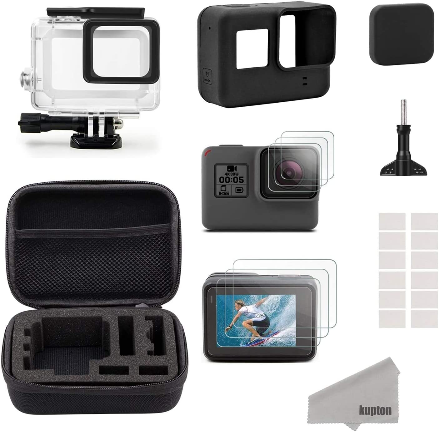 Kupton Accessories Compatible with GoPro Hero 10 Black/ 10/10 Starter Kit  Travel Case + Housing Case + Screen Protector + Lens Cover + Silicone Cover  for