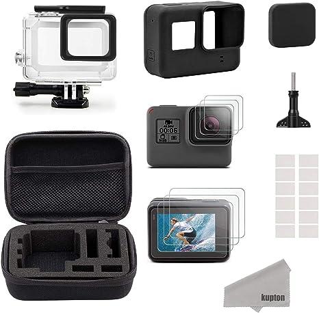 Kupton GoPro Hero7 Black/2018/6/5 Black para Accesorios Kit, Estuche de Viaje Pequeño+Carcasa Case+Protector de Pantalla+Cubre Lente+Montura de Silicona para Go Pro Hero7 Black/2018/6/5: Amazon.es: Electrónica