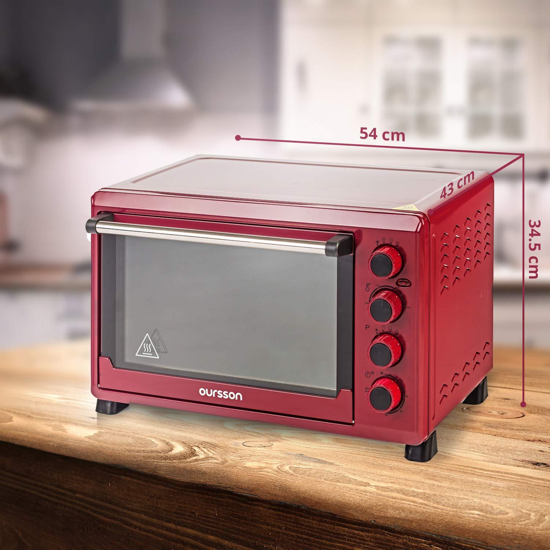 12 kochende Kombinationen Selbstreinigungs-Funktion Oursson Mini-Backofen 42 Liter MO4225//DC Dunkelrot 2000 Watt